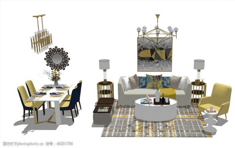 室内模型美式客厅餐厅家具组合SU模型图片