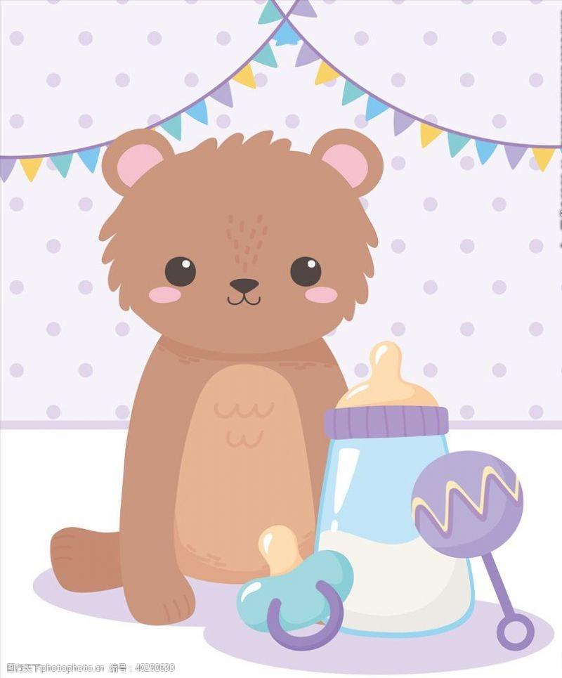 婴儿手绘淡彩动物图片