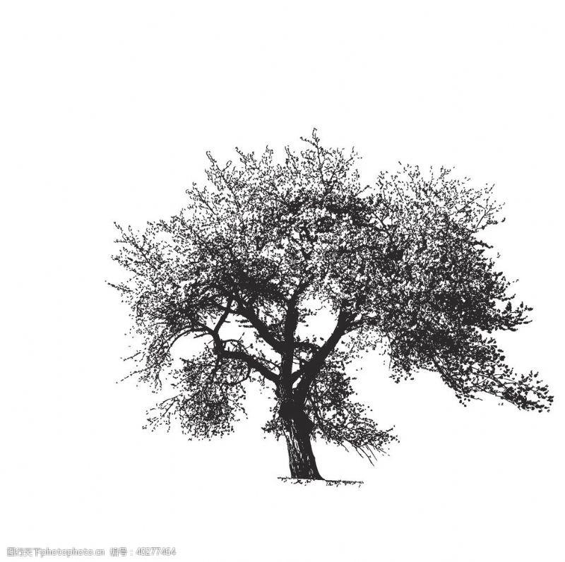 手绘素材树木手绘矢量素材图片