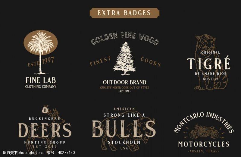 字形素描英语logo标题设计图片