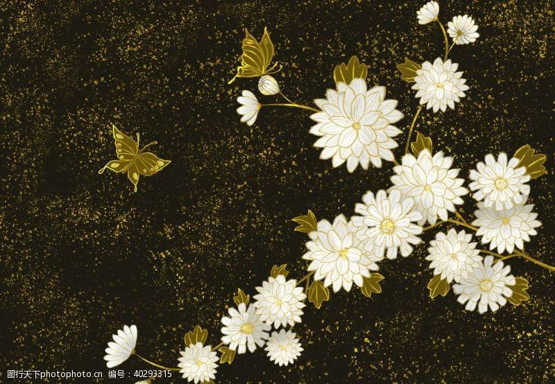 装饰画烫金花朵中国风图片