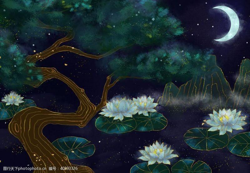 装饰画烫金睡莲中国风图片