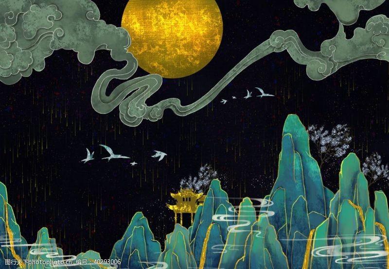 装饰画烫金水墨中国风图片