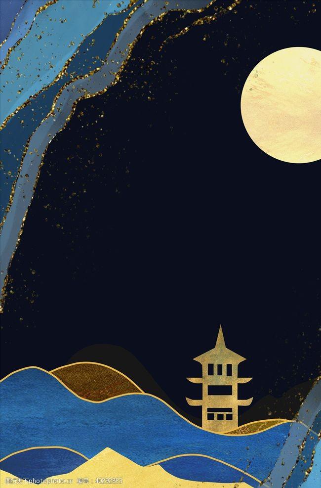 梅花烫金中国风图片