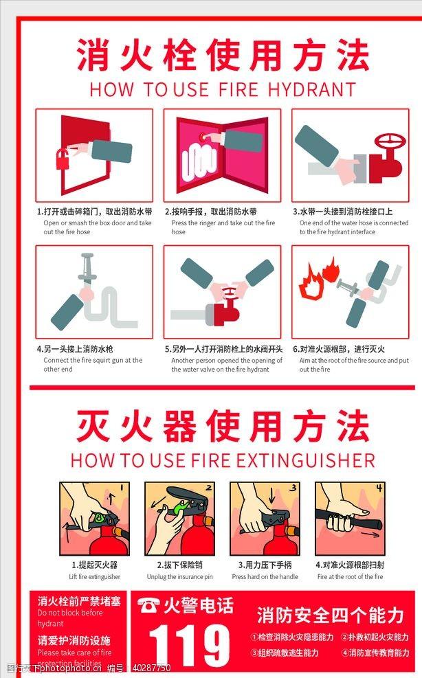 标牌消火栓灭火器使用方法图片