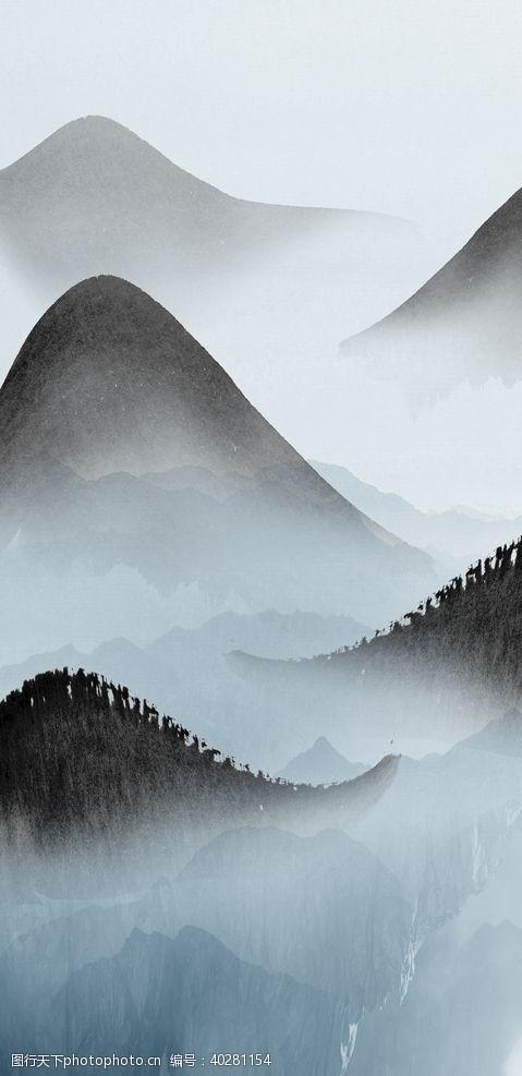 流水新中式山水装饰画图片