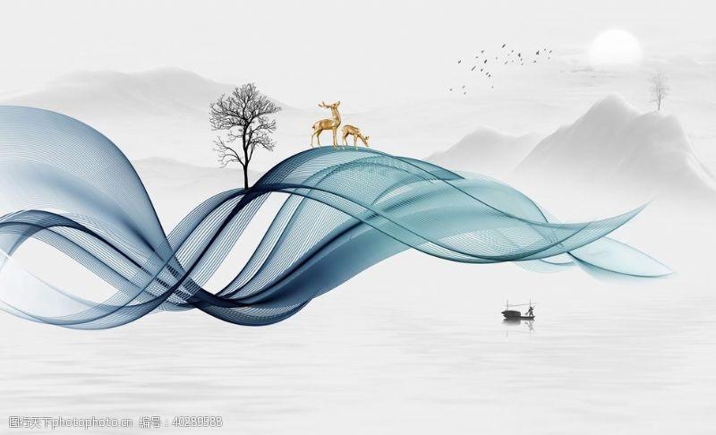 飘带新中式水墨山水背景墙图片