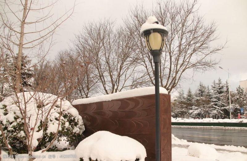 白雪雪天路灯图片
