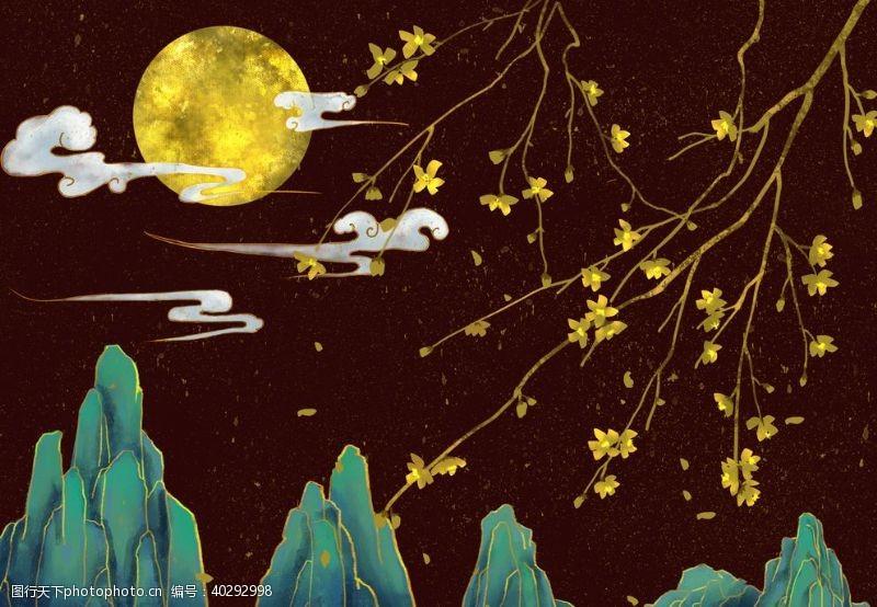 荷叶夜景中国风图片