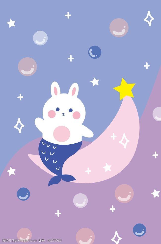 月亮上的小兔子图片