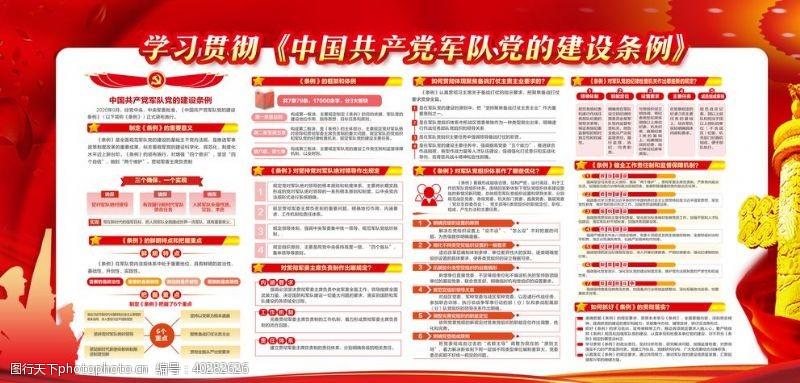 党建展板中国共产党军队党的建设条例图片