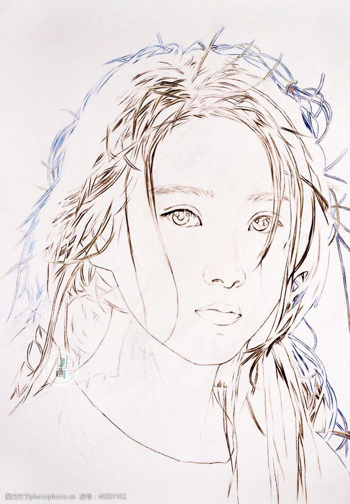 简笔画彩铅人像氧气少女图片