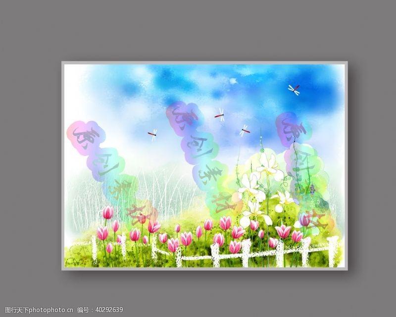 设计素材春色满园彩绘图片