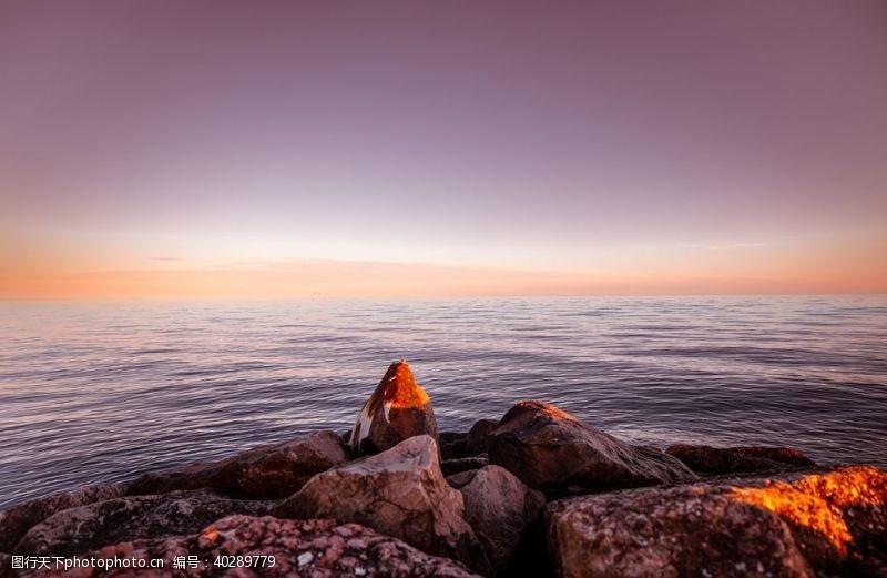 大海晚霞天空海水风景图片
