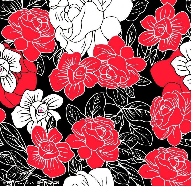 印花大红花图片