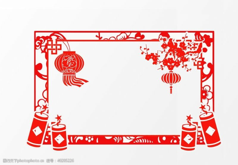 经典的灯笼梅花边框图片