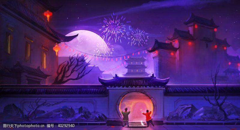 梦幻过年夜景插画图片