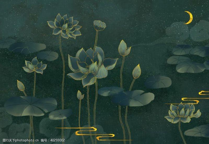 古风荷花荷叶池塘图片