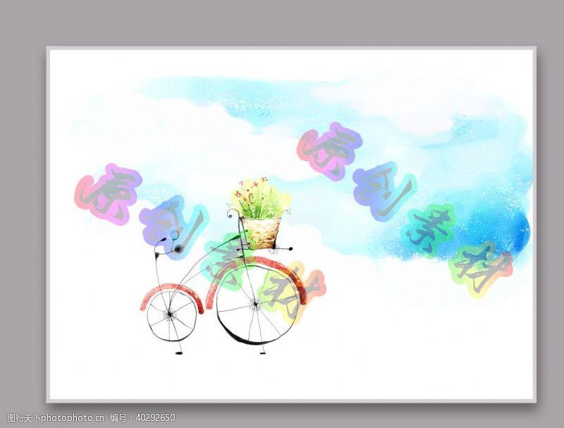 卡通单车风景图片