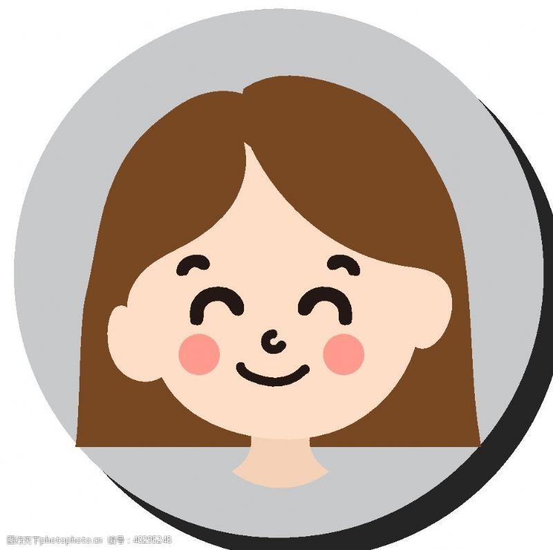 商务卡通短发女孩图片