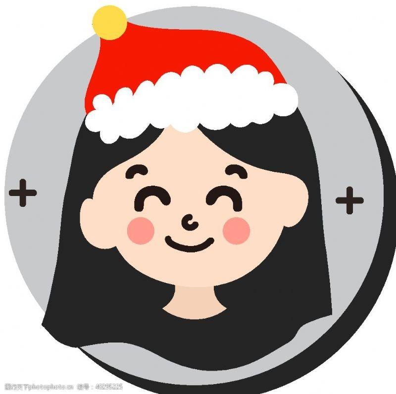 通用卡通女孩圣诞帽图片