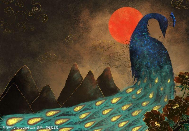 龙孔雀手绘插画图片