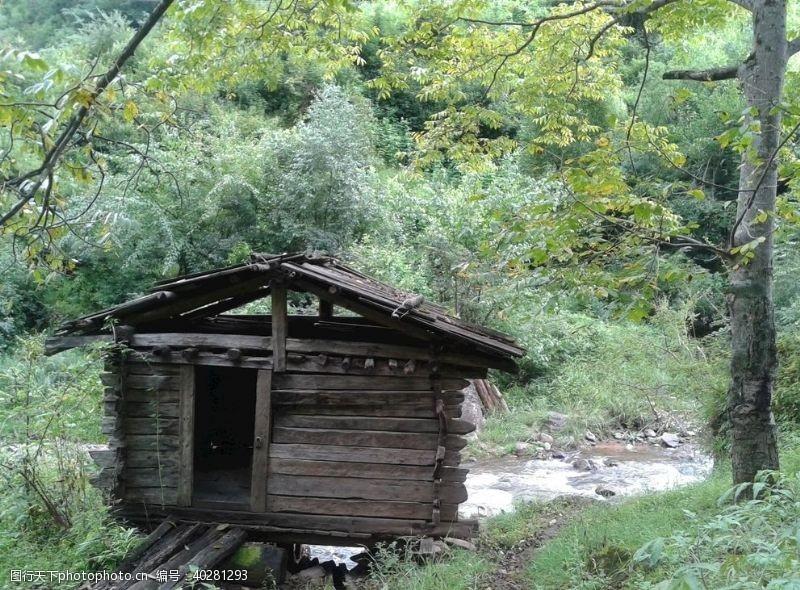 木屋林间小屋图片