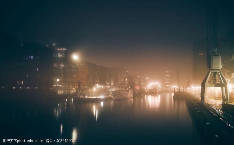 夜晚码头夜景图片