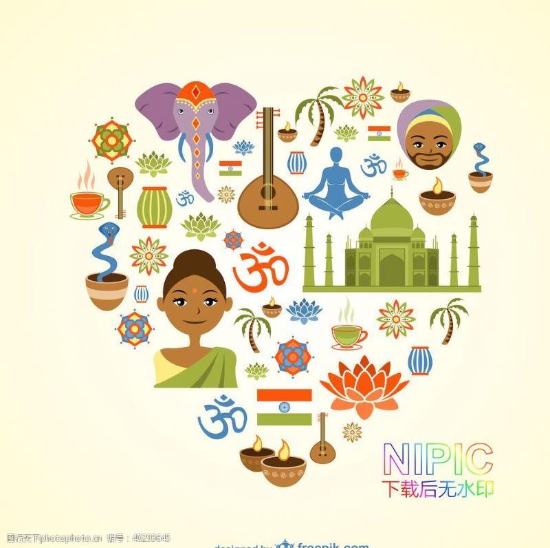 矢量素材美女风情下载ai印度旅游素材图片