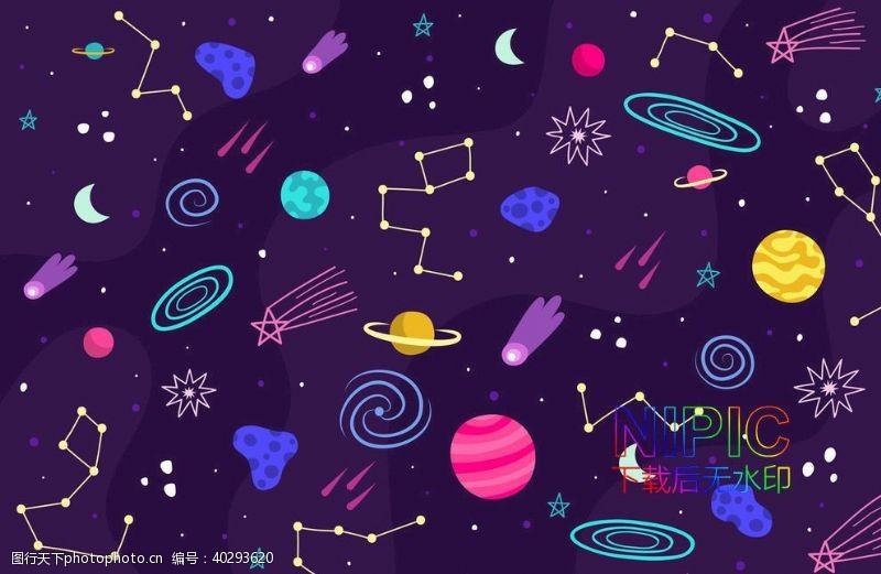 星球模版retro插画土星地球图片