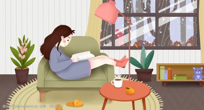 休闲暖冬室内插画图片