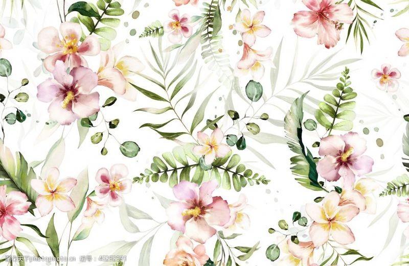 叶子水彩花朵图片