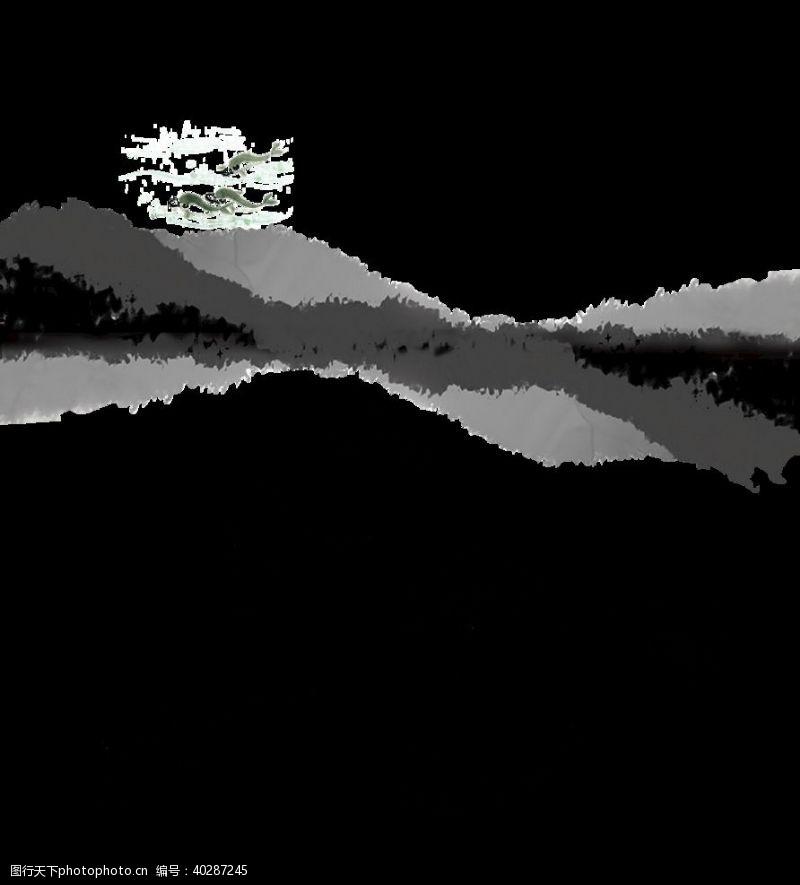 莲花水墨鱼图片