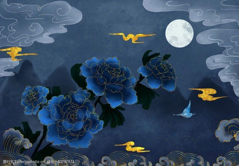 古风烫金花朵中国风图片