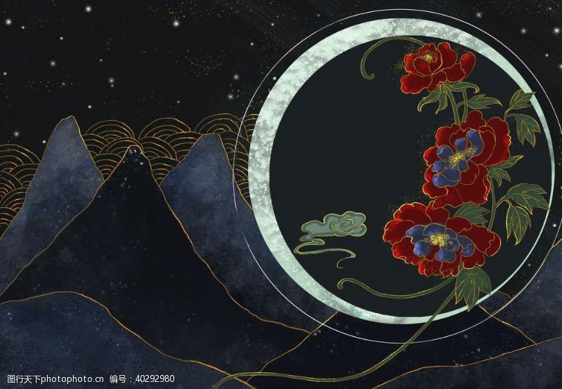 荷叶烫金夜景中国风图片