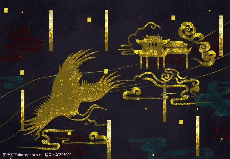 凤凰烫金中国风图片