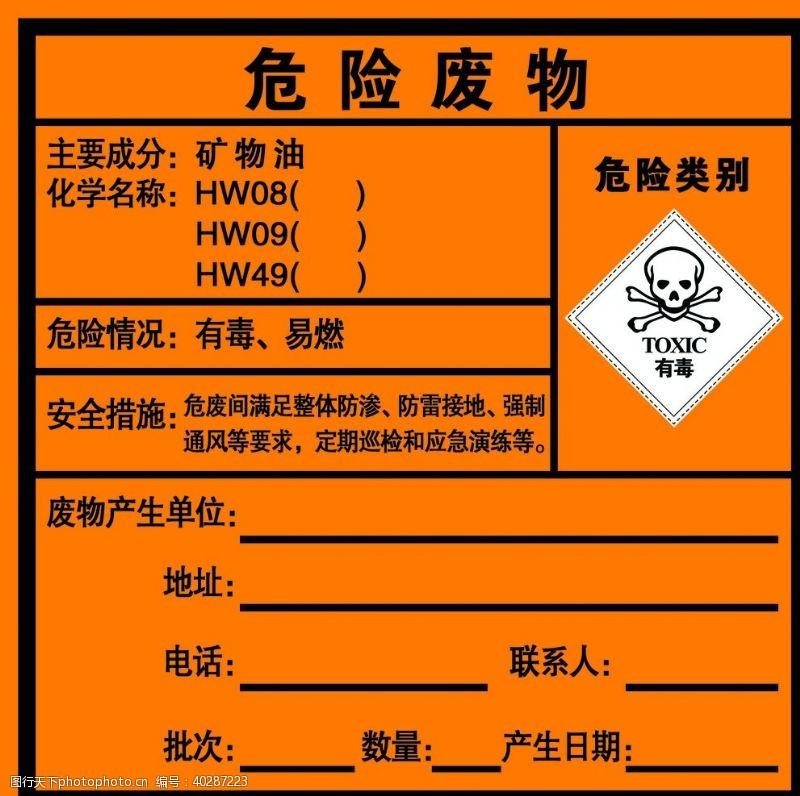 危险废物警示牌图片