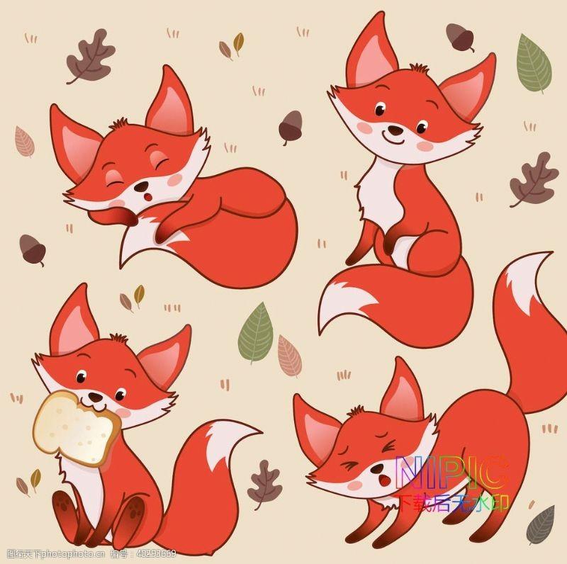 矢量图小狐狸狐狸背景火狐狸图片卡通