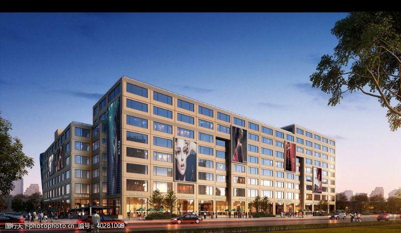 室外模型小区住宅商业街黄昏效果图图片