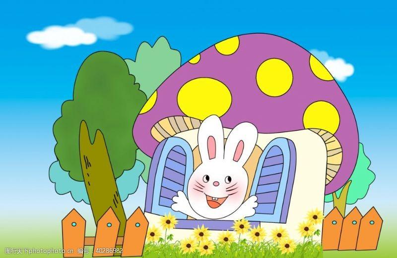 卡通背景小兔和蘑菇房图片