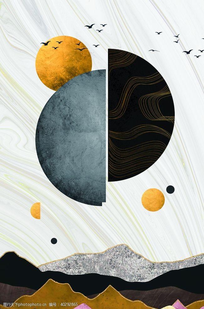 抽象画新中式意境挂画图片
