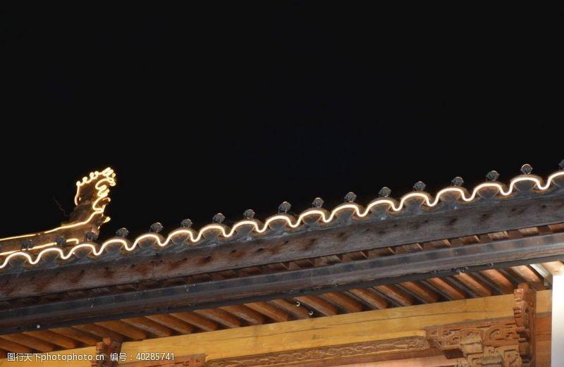 小镇夜景摄影图片