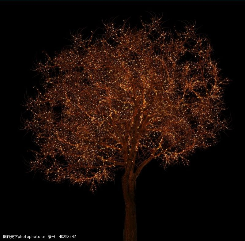 夜景树枯树冬树发光树合成图片