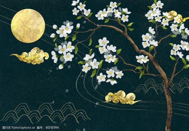荷叶夜景中国风插画图片