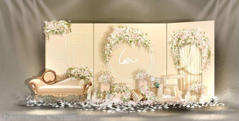 原创香槟色婚礼迎宾区手绘效果图图片