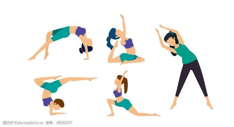 矢量插画瑜伽插画图片