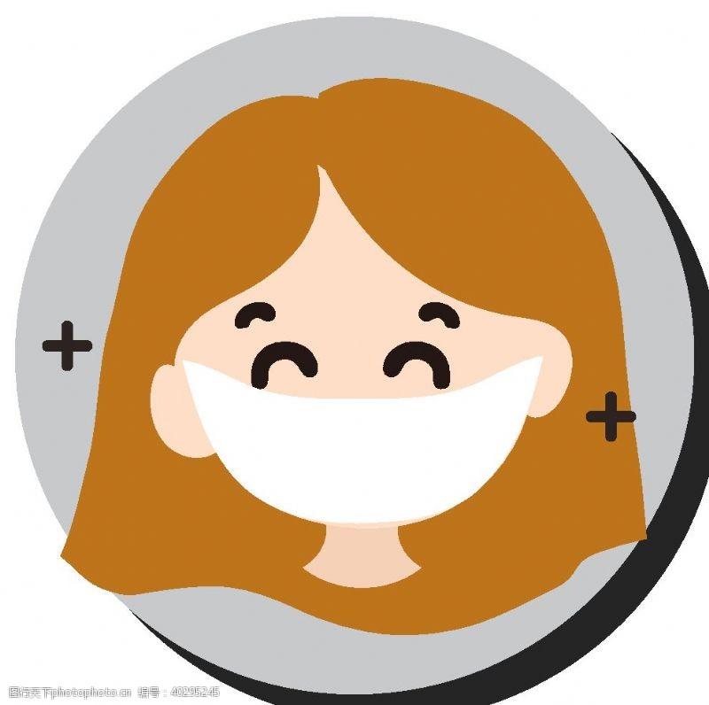 通用卡通戴口罩女孩人物图片
