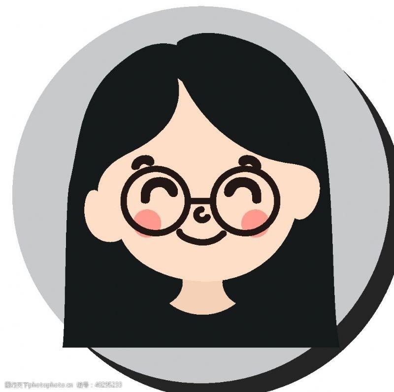 通用卡通戴眼镜女孩头像图片