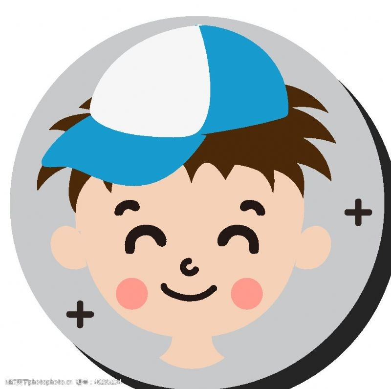 卡通人物卡通鸭舌帽男孩头像图片