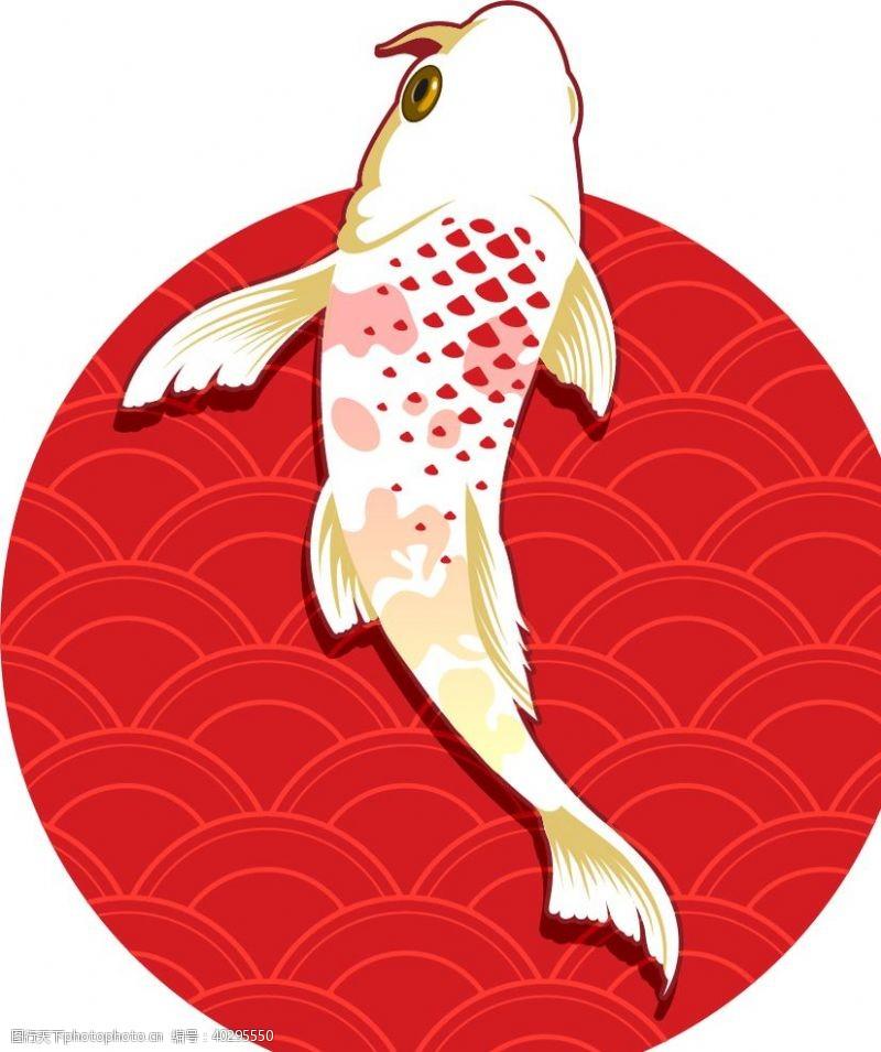装饰画日系锦鲤插画图片